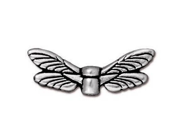TierraCast Dragonfly Wings 3/4 inch Silver Plated Pewter Bead