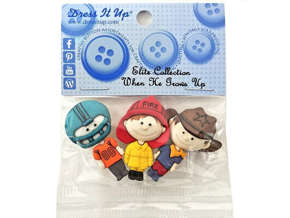 When He Grows Up<br> Novelty Buttons<br>Dress It Up Pack