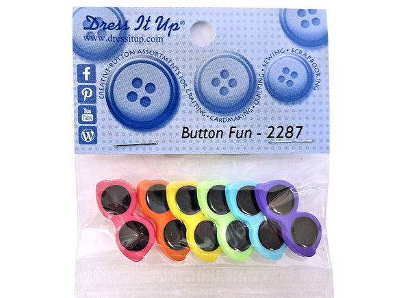 Button Fun Small Sunglasses<br> Novelty Buttons<br> Dress It Up Theme Pack