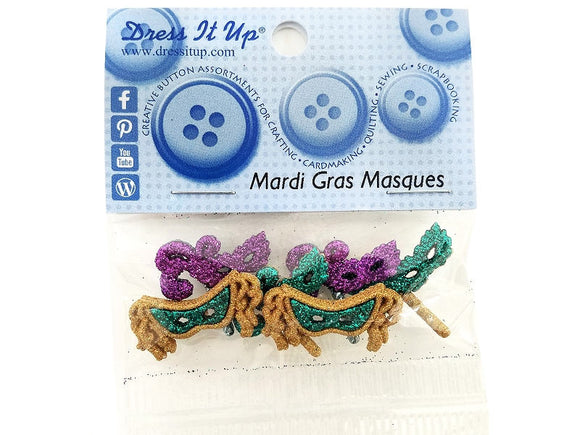 Mardi Gras Masques<br> Novelty Buttons<br> Dress It Up Theme Pack