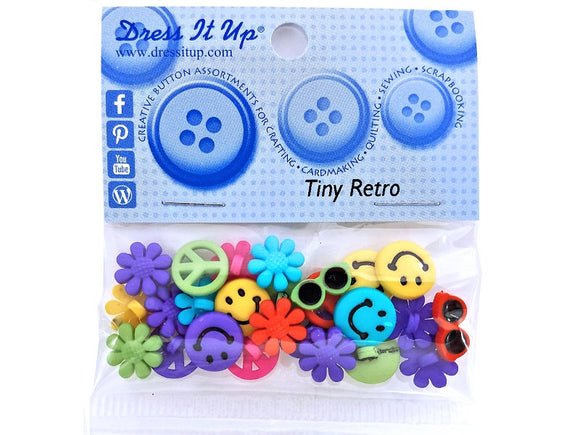 Tiny Retro<br> Novelty Buttons<br> Dress It Up Theme Pack