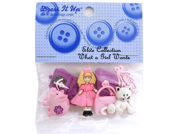 What a Girl Wants<br> Novelty Buttons<br> Dress It Up Theme Pack