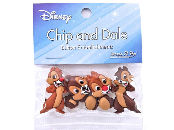 Disney Chip and Dale Chimpmunks<br> Novelty Buttons<br> Dress It Up Theme Pack