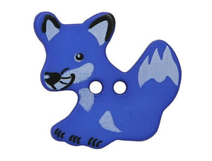 Dill Fox Large Novelty Button Blue Color