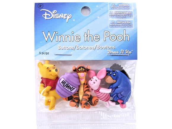 Disney Winnie the Pooh Novelty Buttons Jesse James Dress it Up Theme Pack