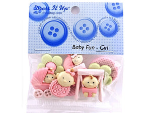 Baby Girl <br> Novelty Buttons<br> Dress It Up Theme Pack