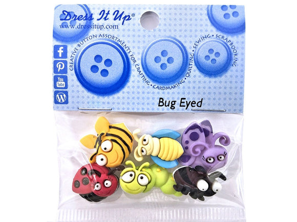 Dress it Up Bug Eyed Insects Novelty Buttons Jesse James Theme Pack