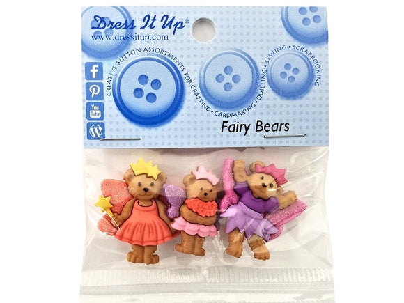 Fairy Bears<br> Novelty Buttons anf Flatback<br> Dress It Up Theme Pack