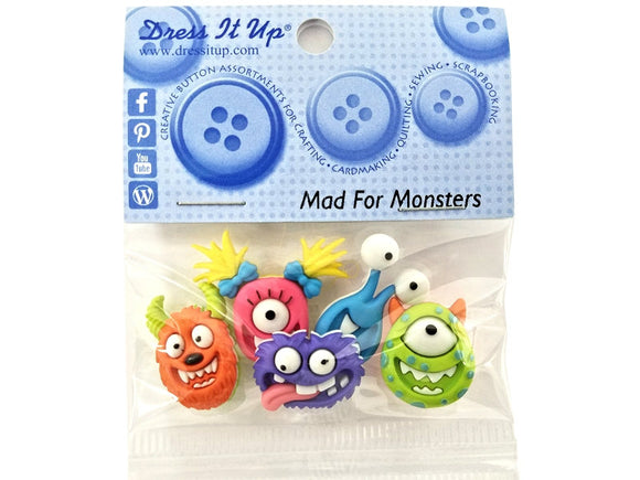 Mad for Monsters<br> Novelty Buttons<br> Dress It Up Theme Pack
