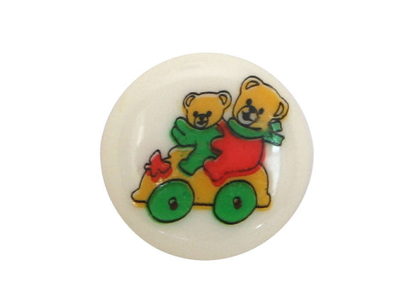 Dill Bears on Wheels 9/16 inch Novelty Button Multi Color