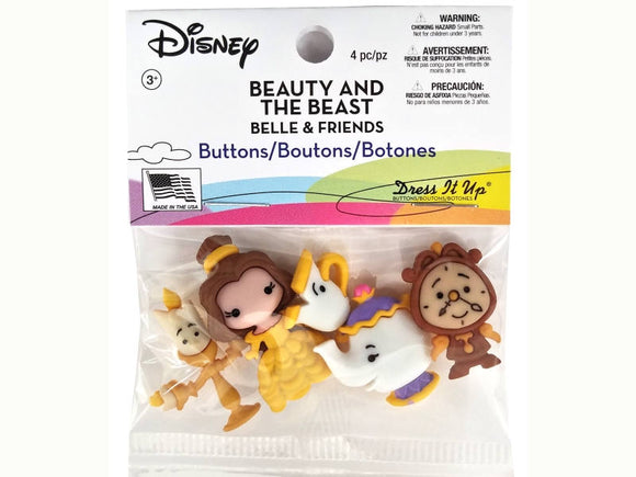 Disney Belle and Friends Beauty and the Beast Novelty Buttons Jesse James Dress It Up Theme Pack