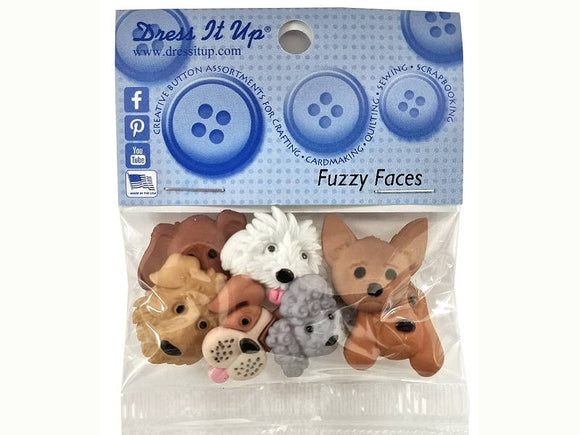 Fuzzy Faces Puppy Dogs<br>  Novelty Buttons<br> Dress It Up Theme Pack