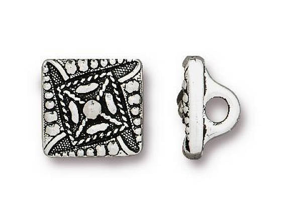 TierraCast Tiny Czech Square 3/8 inch  Pewter Button Silver Plated