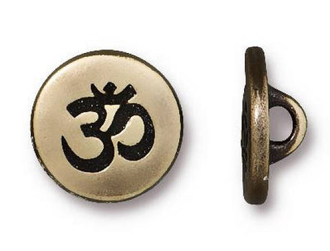 TierraCast Small Om Symbol 1/2 inch Pewter Button Brass Plated