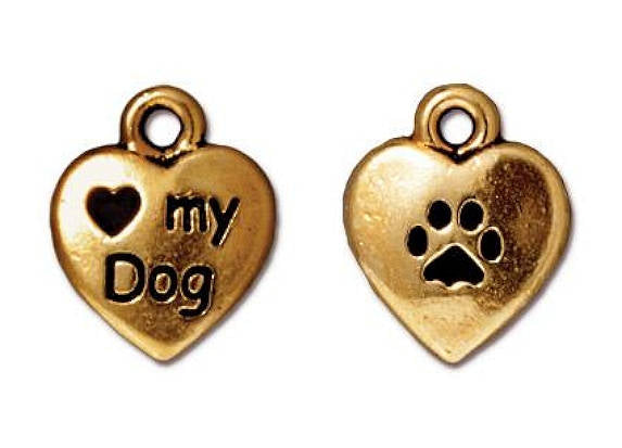 TierraCast Love My Dog 1/2 inch Gold Plated Pewter Charm