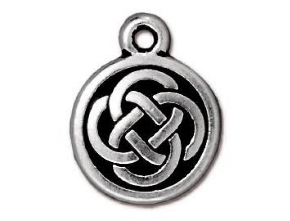 TierraCast Celtic Round 5/8 inch Silver Plated Pewter Charm Drop