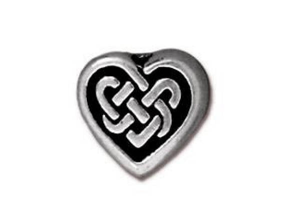 TierraCast Celtic Heart 3/8 inch Silver Plated Pewter Bead