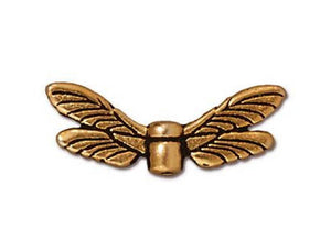 TierraCast Dragonfly Wings 3/4 inch Gold Plated Pewter Bead