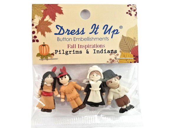 Pilgrims and Indians <br> Novelty Buttons<br> Dress it Up Theme Pack