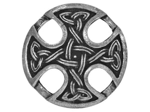 Ram's Horn Nevern Celtic Cross Large Pewter Button Silver Color