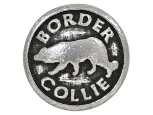 Ram's Horn Border Collie Dog 13/16 inch Pewter Button Antique Silver Color