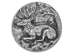 Ram's Horn Resting Stag Deer 7/8 inch Pewter Button Silver Color