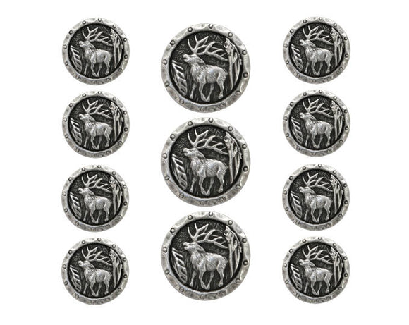 Antlers Elk 11 pc Metal Blazer Button Set Antique Silver Color