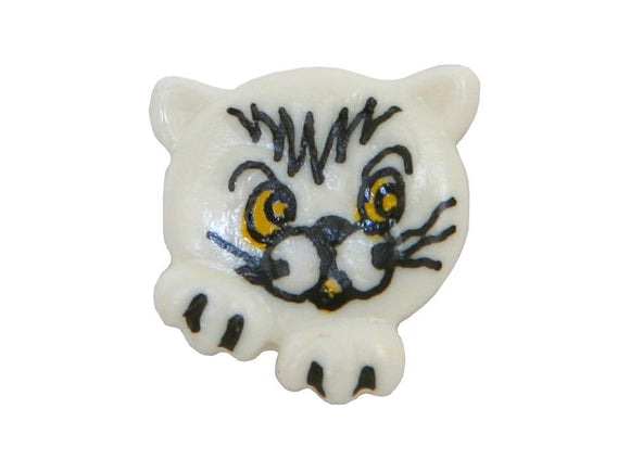 Dill Kitty Face 11/16 inch Novelty Button White Color