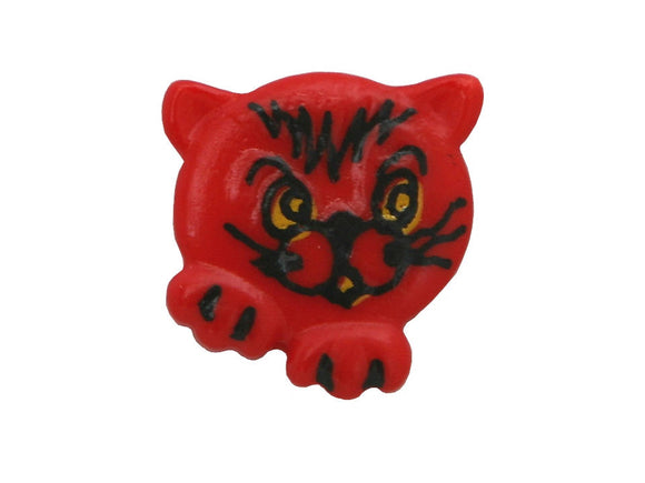 Dill Kitty Face 11/16 inch Novelty Button Red Color