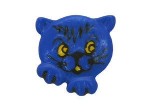 Dill Kitty Face 11/16 inch Novelty Button Blue Color