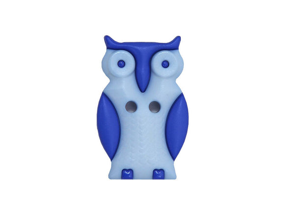 Dill Owl Large Novelty Button Blue Color