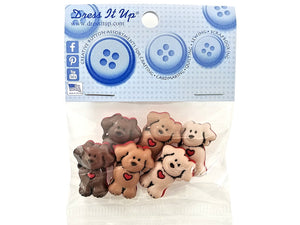 Dogs With Heart Novelty Buttons Dress It Up Theme Pack
