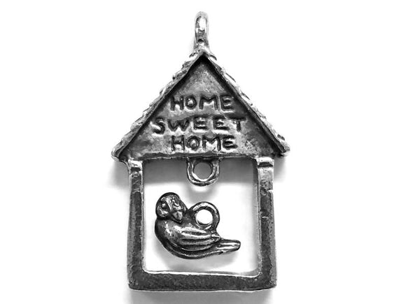 Green Girl House with Bird<br> Large Pewter Pendant and Charm Set<br> Antique Silver Color