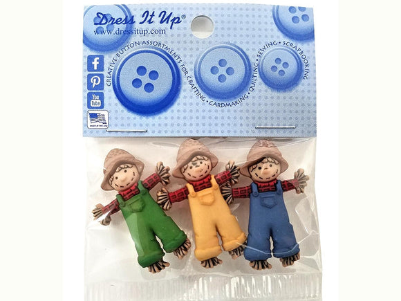 Three Scarecrows <br> Novelty Buttons<br>  Dress It Up Theme Pack