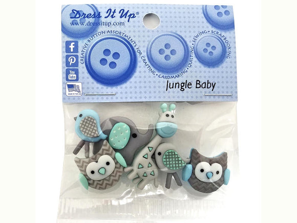 Jungle Baby<br> Novelty Buttons <br> Dress It Up Theme Pack