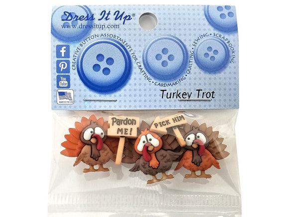 Turkey Trot<br> Novelty Buttons<br>  Dress it Up Theme Pack