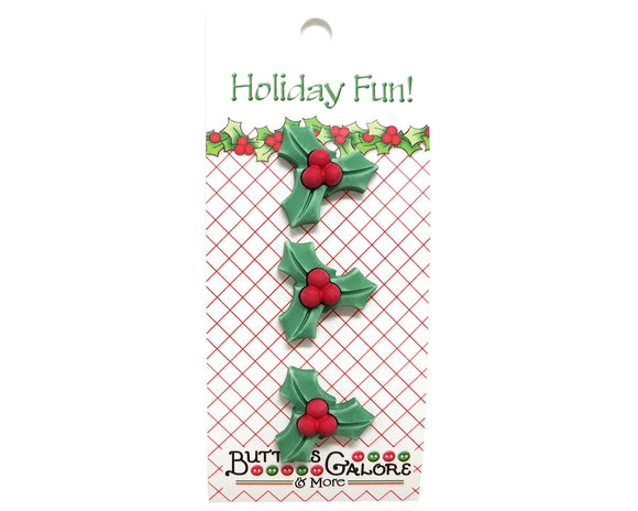 Buttons Galore Christmas Holly Novelty Buttons Holiday Fun Collection