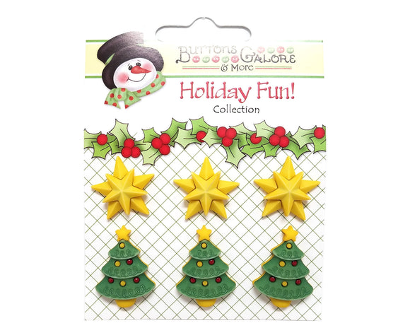 Buttons Galore Christmas Star of Wonder Novelty Buttons Holiday Fun Collection