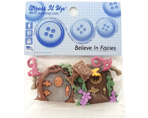 Believe in Fairies Novelty Buttons Dress It Up Theme Pack