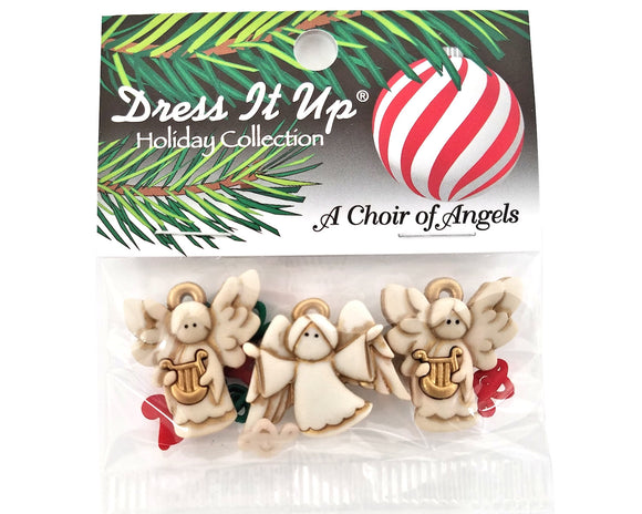 Christmas Choir of Angels Novelty Buttons Dress It Up Theme Pack