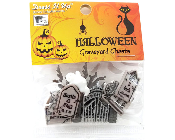 Halloween Graveyard Ghosts Novelty Buttons and Flatback Dress It Up Theme Pack