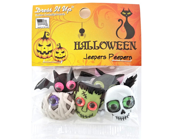 Halloween Jeepers Peepers Novelty Buttons Dress It Up Theme Pack