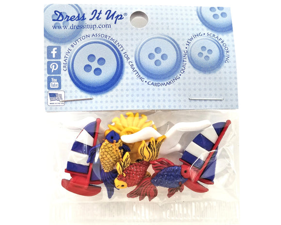 Out to Sea Novelty Buttons Dress It Up Theme Pack