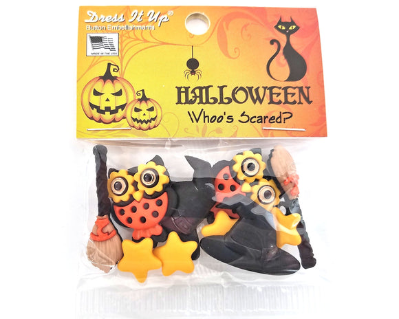 Halloween Whoo's Scared Novelty Buttons Dress It Up Theme Pack