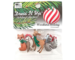 Christmas Woodland Holiday Novelty Buttons Dress It Up Theme Pack