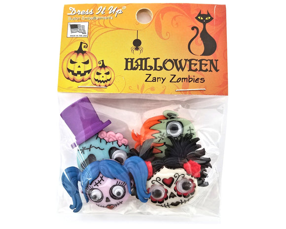Halloween Zany Zombies Novelty Buttons Dress It Up Theme Pack