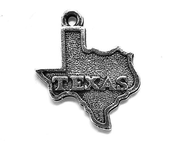 Quest Beads State of Texas 13/16 inch  Pewter Charm Silver Plated