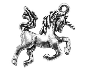 Quest Beads Unicorn 15/16 inch  Pewter Pendant Silver Plated