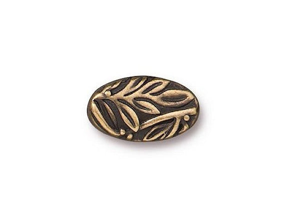 TierraCast Botanical 1/2 inch Pewter Bead Brass Plated
