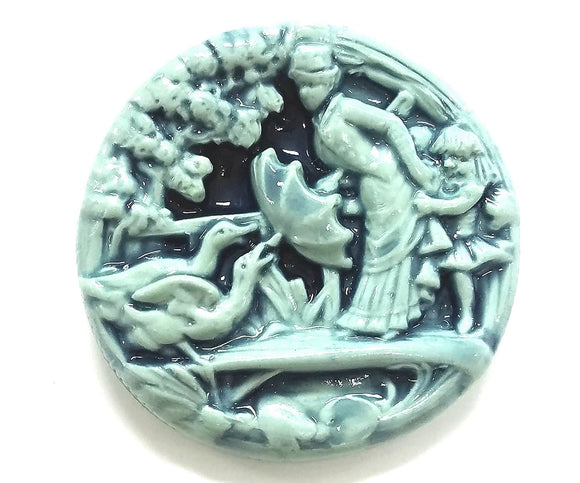 Susan Clarke Woman and Geese XLarge Art Stone Button Mint Color